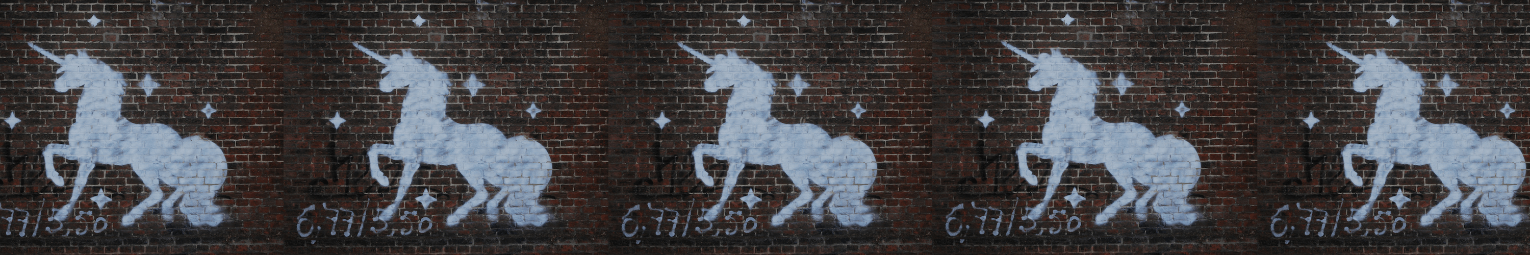 Banner with Unicorn painted on wall